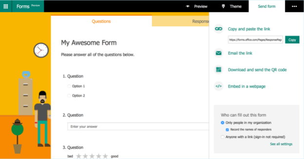 sharing settings for Microsoft forms