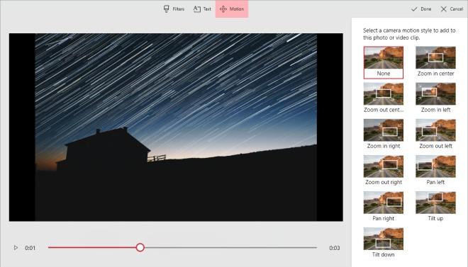 Windows 10 Video Project Motion Screenshot