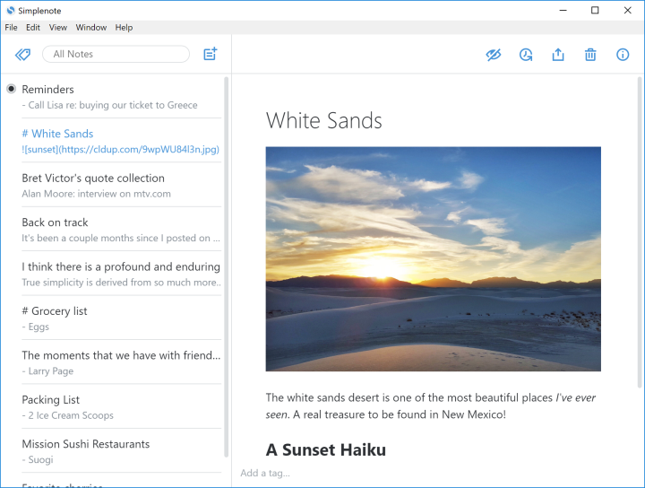 screenshot of simplenote for windows