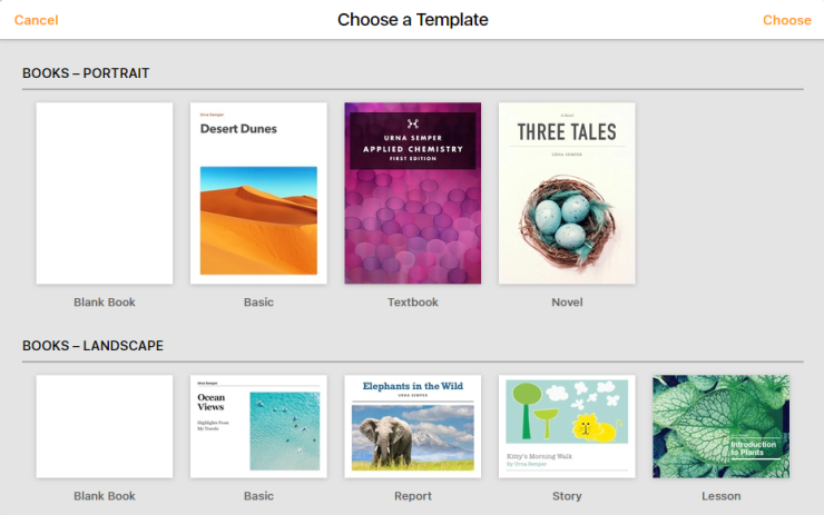 A selection of Apple Book templates in Pages