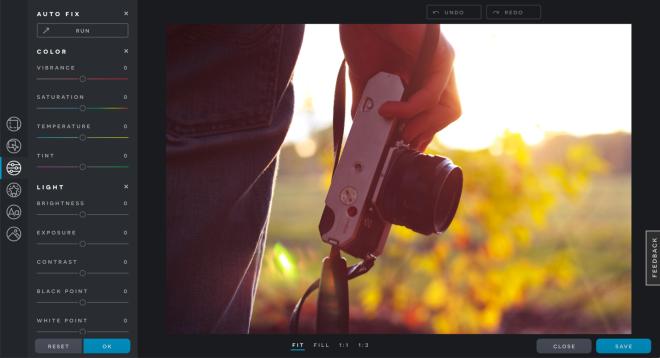 screenshot of pixlr x imaging tools