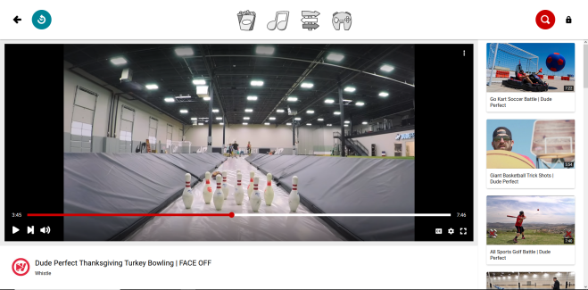 Screenshot of the YouTube Kids website showing a Dude Perfect video, Thanksgiving Turkey Bowling   Face Off
