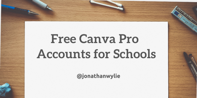 A piece of paper on a desk. Various stationery surrounds the paper. Text on the paper reads Free Canva Pro Accounts for Schools.