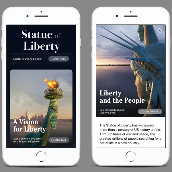 Screenshots of the Statue of Liberty app