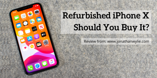 iPhone X on a table. Text reads, Refurbished iPhone X, Should You Buy It?