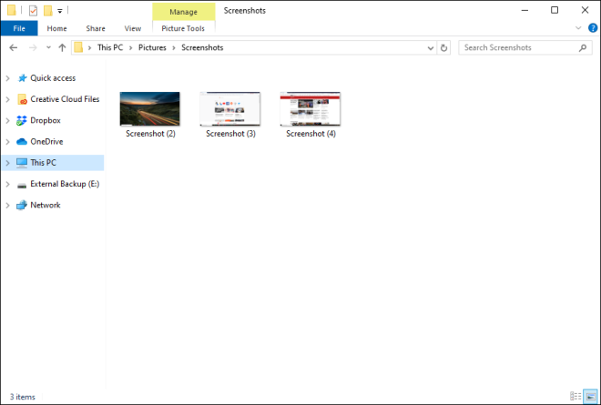 Screenshot of the screenshot folder in Windows 10 Picture library
