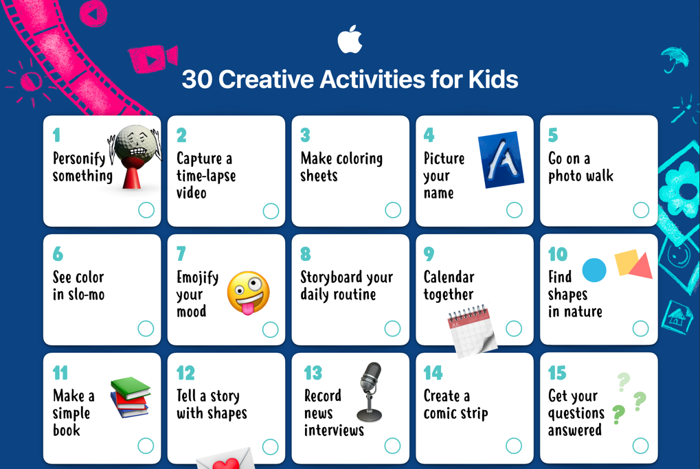 Screenshot of the 30 Creative Activities for Kids calendar from Apple.