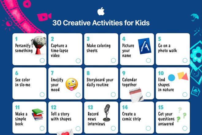 Screenshot of the 30 Creative Activities for Kids calendar from Apple.