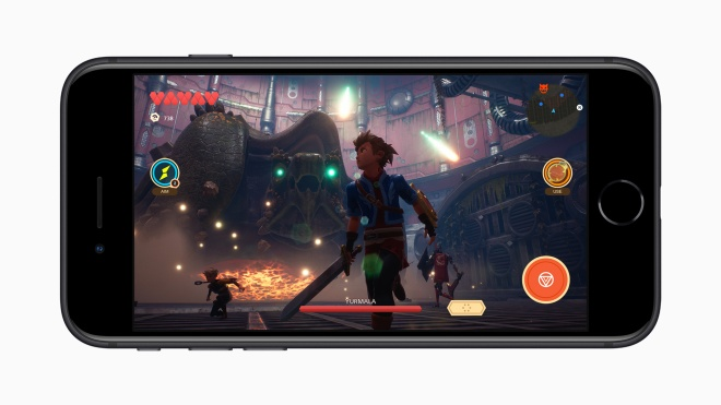 iPhone SE with a character from a game holding a sword on the screen