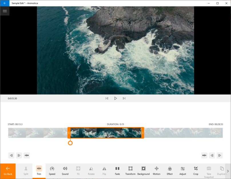 Screenshot of the Animotica video editor