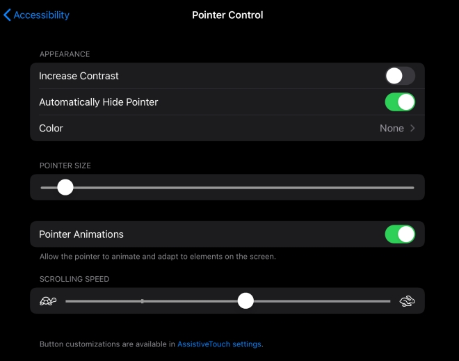 screenshot of the pointer control settings for the iPad