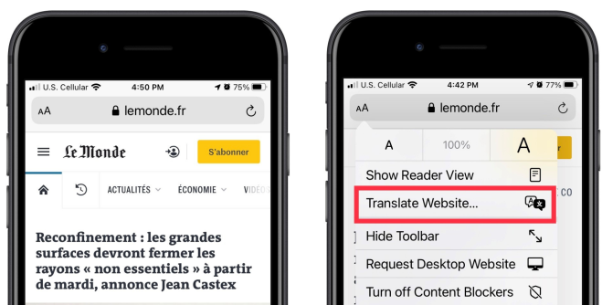 Two iphones side by side. Screens show before and after of the Safari translation feature.