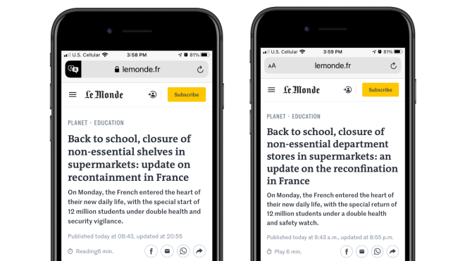 Two iPhones side by side. The one of the left shows the Safari translation of Le Monde. The one on the right shows the Microsoft Translator version of Le Monde.