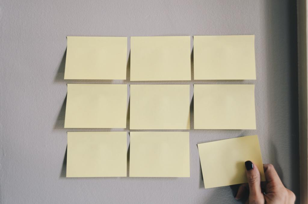 nine post-it notes stuck to a fridge door arranged in a 3 by 3 grid